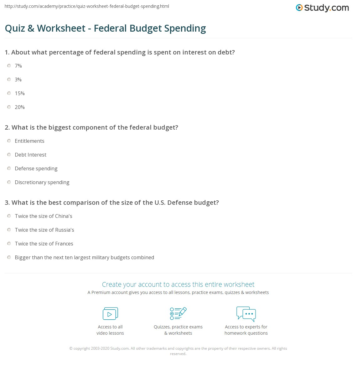 quiz worksheet federal budget spending study com