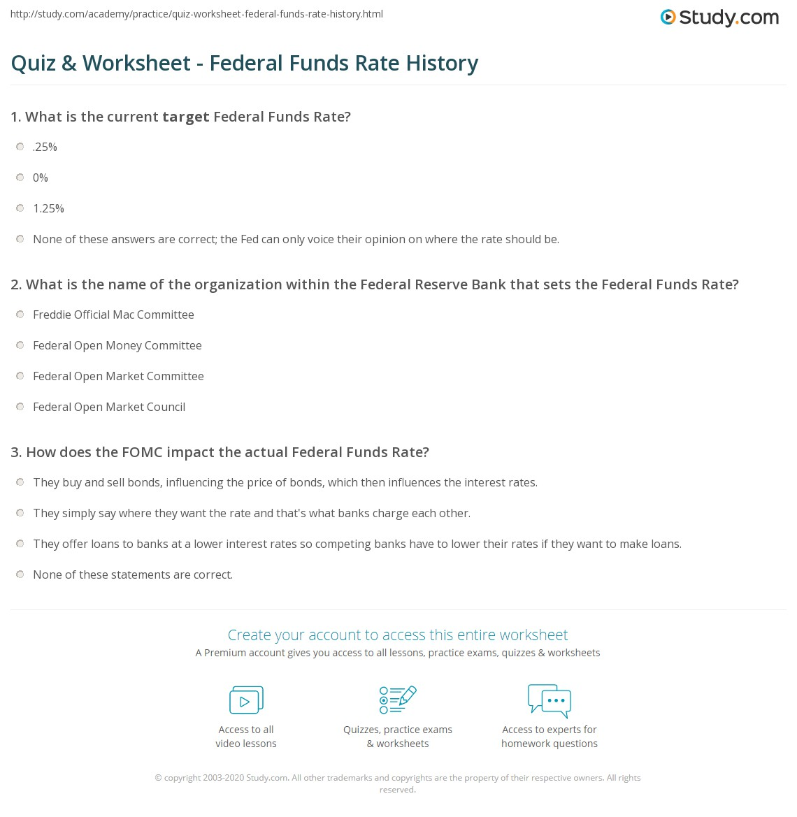 Quiz Worksheet Federal Funds Rate History Study Com
