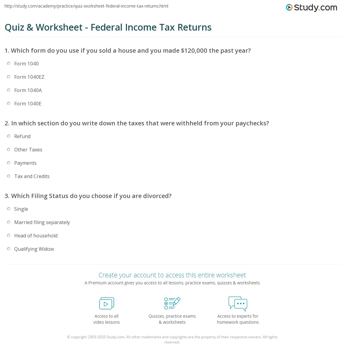 Worksheets Social Security Benefits Worksheet 1040a quiz worksheet federal income tax returns study com print how to file a return worksheet