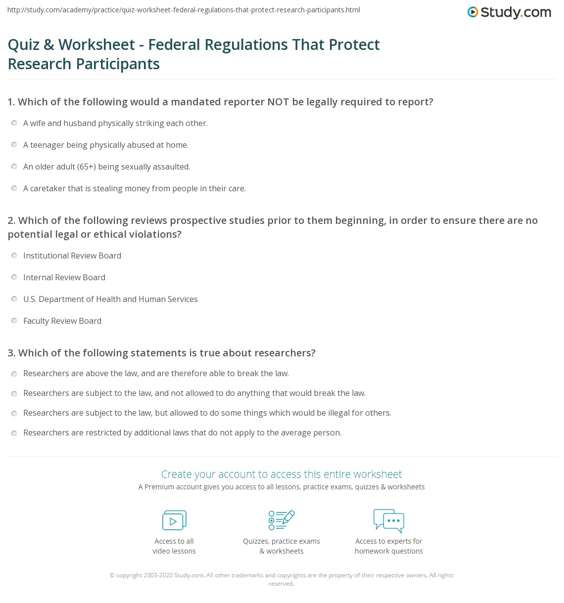 Quiz & Worksheet - Federal Regulations That Protect Research