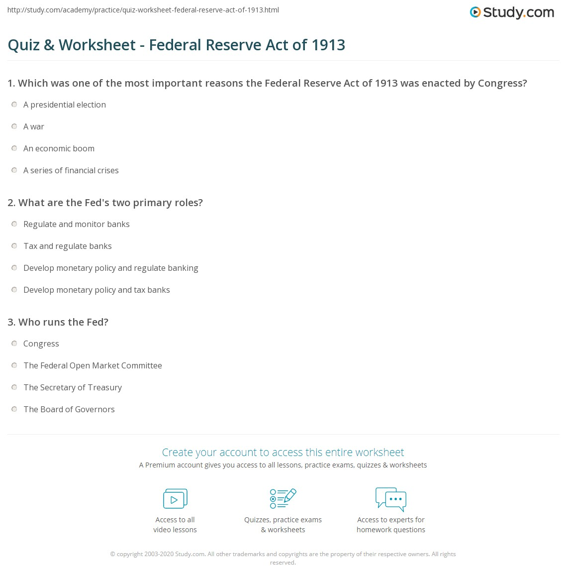 quiz & worksheet - federal reserve act of 1913 | study