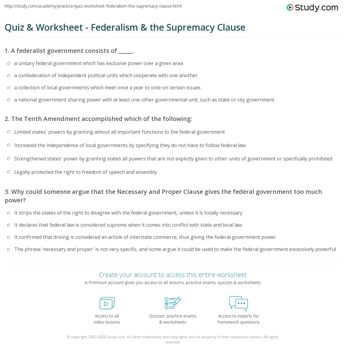 Quiz Worksheet Federalism The Supremacy Clause Study Com