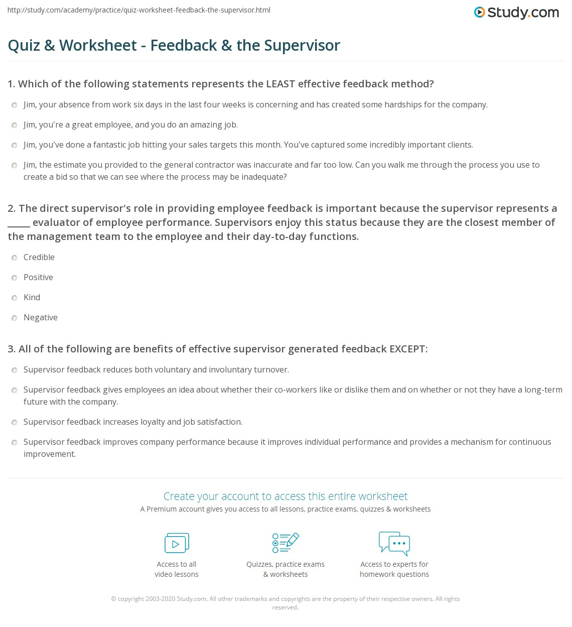 Worksheets Performance Feedback Worksheet quiz worksheet feedback the supervisor study com direct supervisors role in providing employee is important because represents a evaluator of perfo