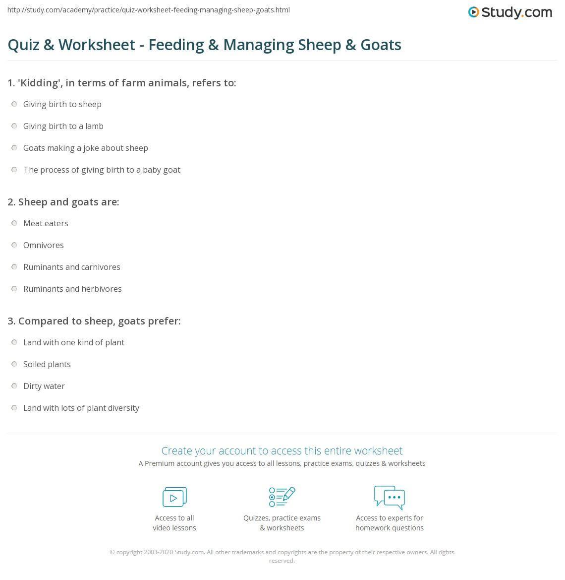 quiz worksheet feeding managing sheep goats studycom