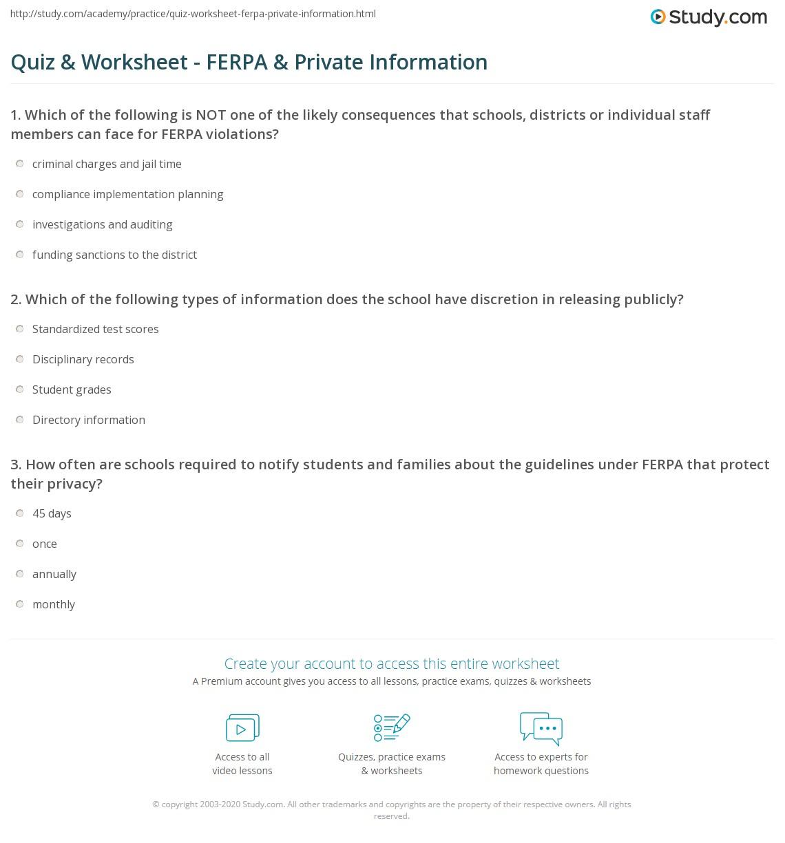 Quiz Worksheet Ferpa Private Information Study