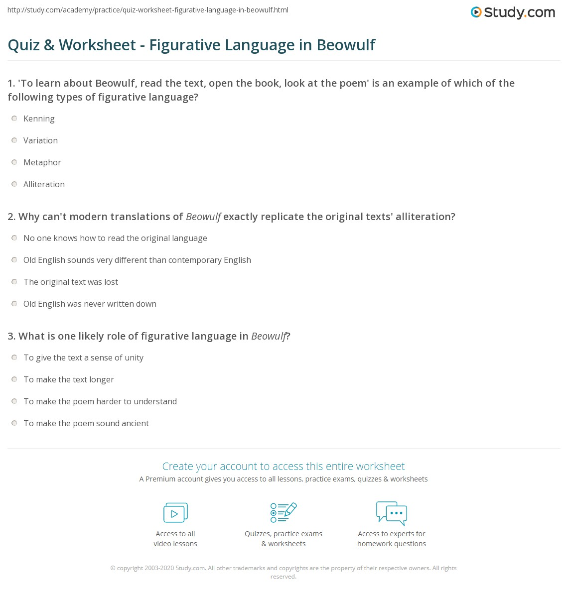 Quiz Worksheet Figurative Language In Beowulf Study