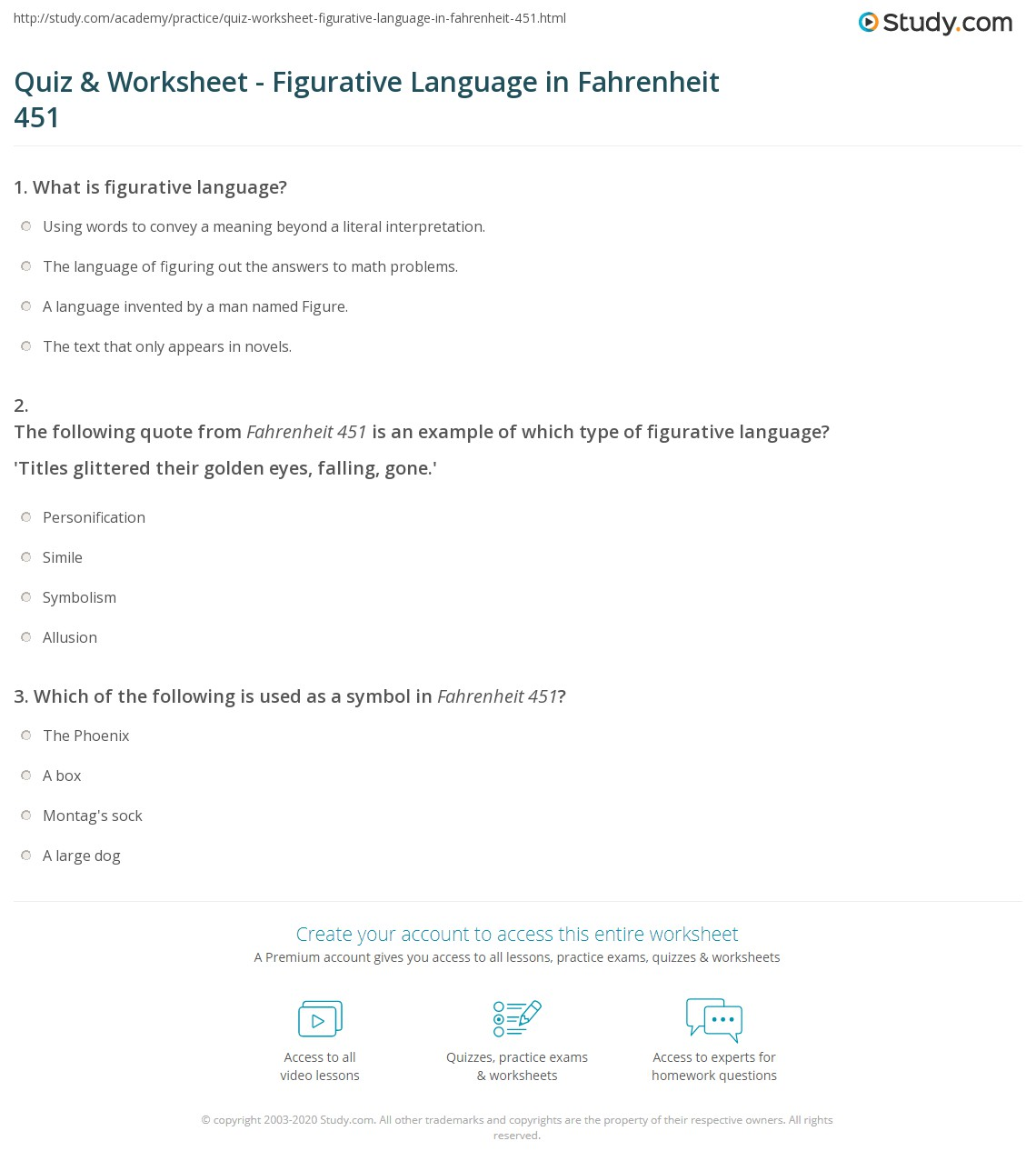 quiz worksheet figurative language in fahrenheit 451. Black Bedroom Furniture Sets. Home Design Ideas