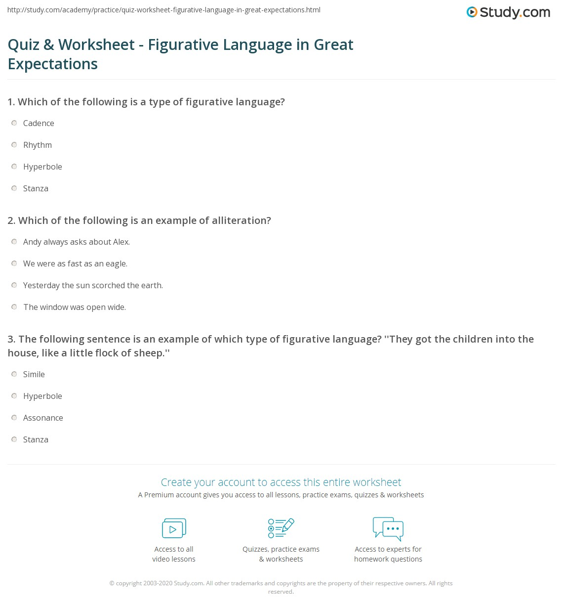 Quiz Worksheet Figurative Language In Great Expectations Study Com