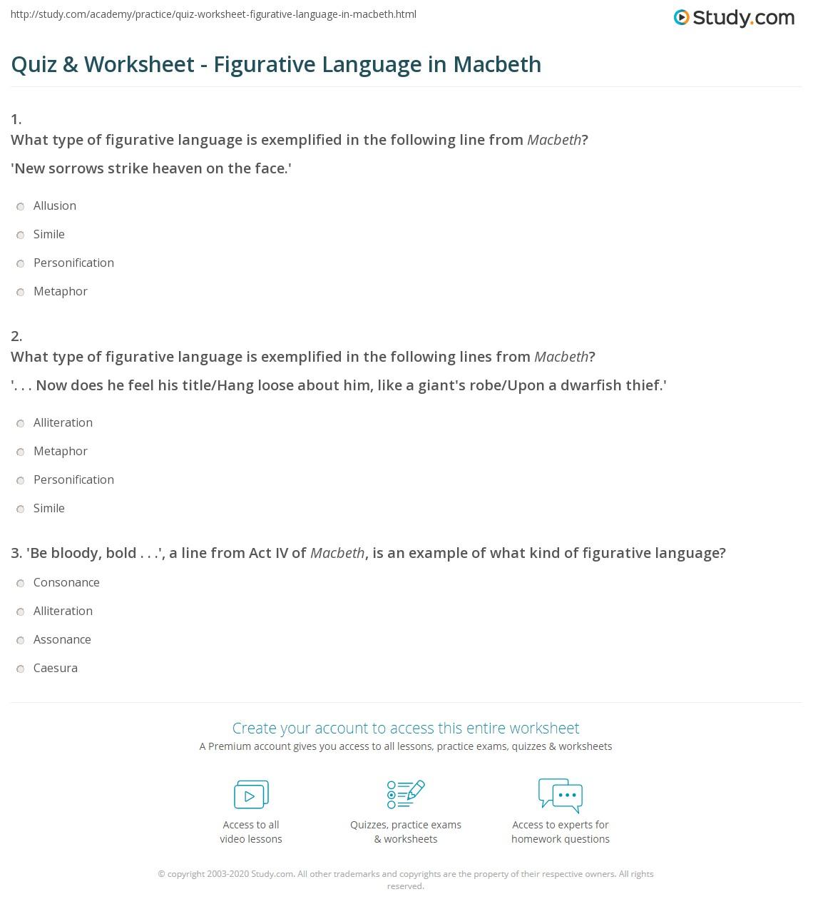 Worksheets Figurative Language Worksheet quiz worksheet figurative language in macbeth study com print worksheet