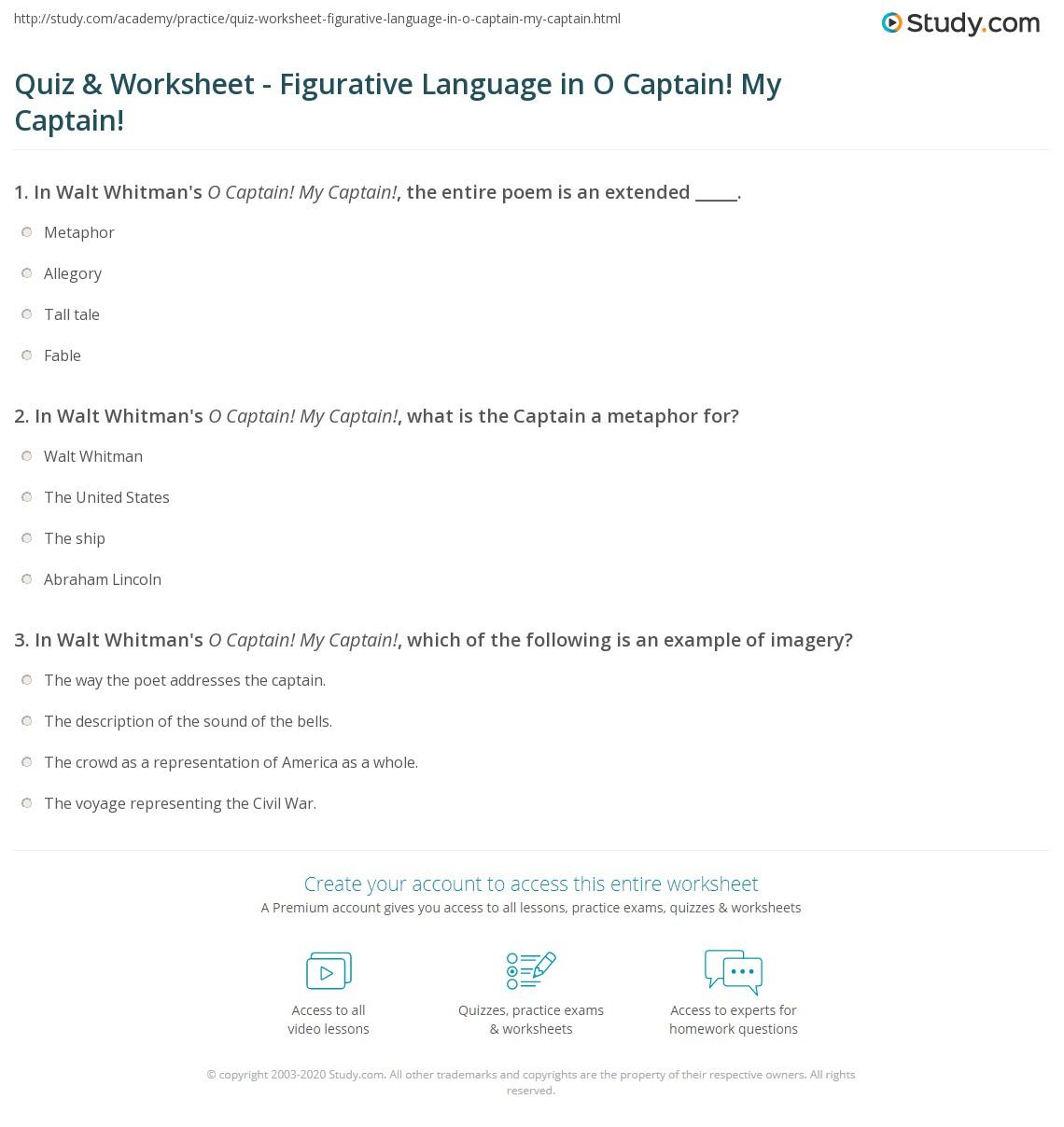quiz worksheet figurative language in o captain my captain print figurative language in o captain my captain worksheet