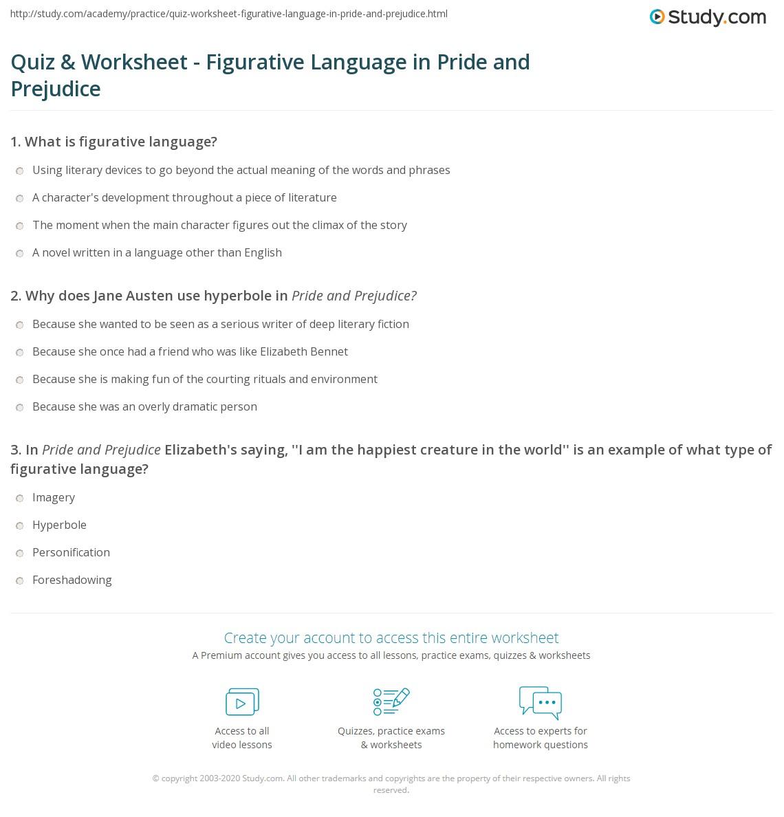 Quiz Worksheet Figurative Language in Pride and Prejudice – Hyperbole Worksheet