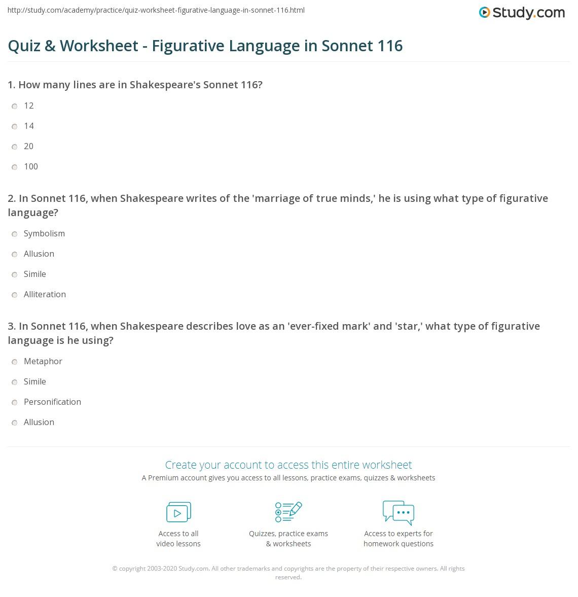 quiz worksheet figurative language in sonnet com print figurative language in sonnet 116 worksheet