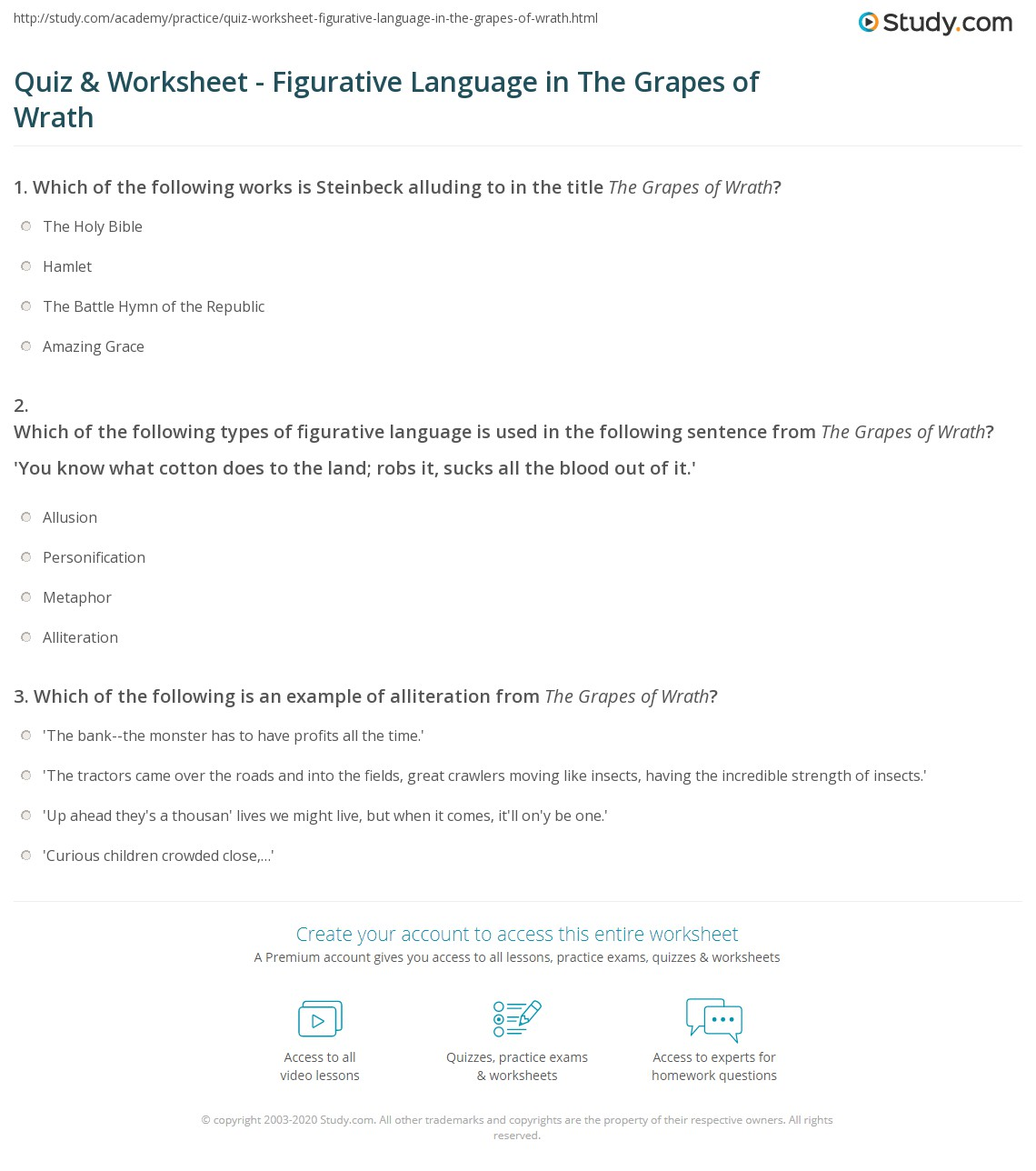 Quiz Worksheet Figurative Language In The Grapes Of Wrath