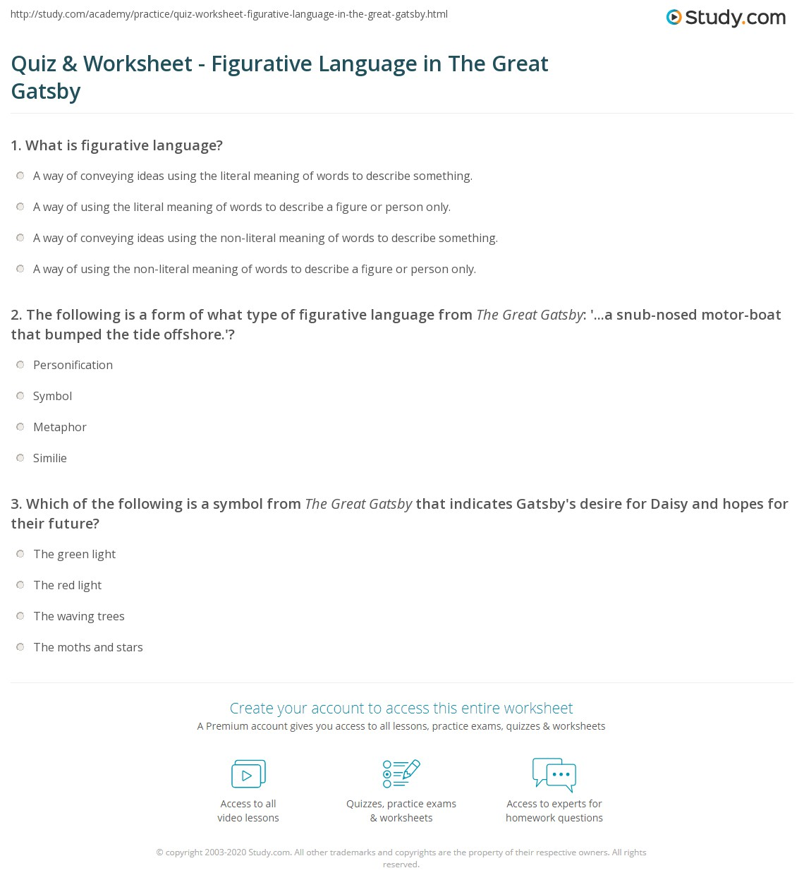 worksheet The Great Gatsby Worksheets quiz worksheet figurative language in the great gatsby study com print worksheet