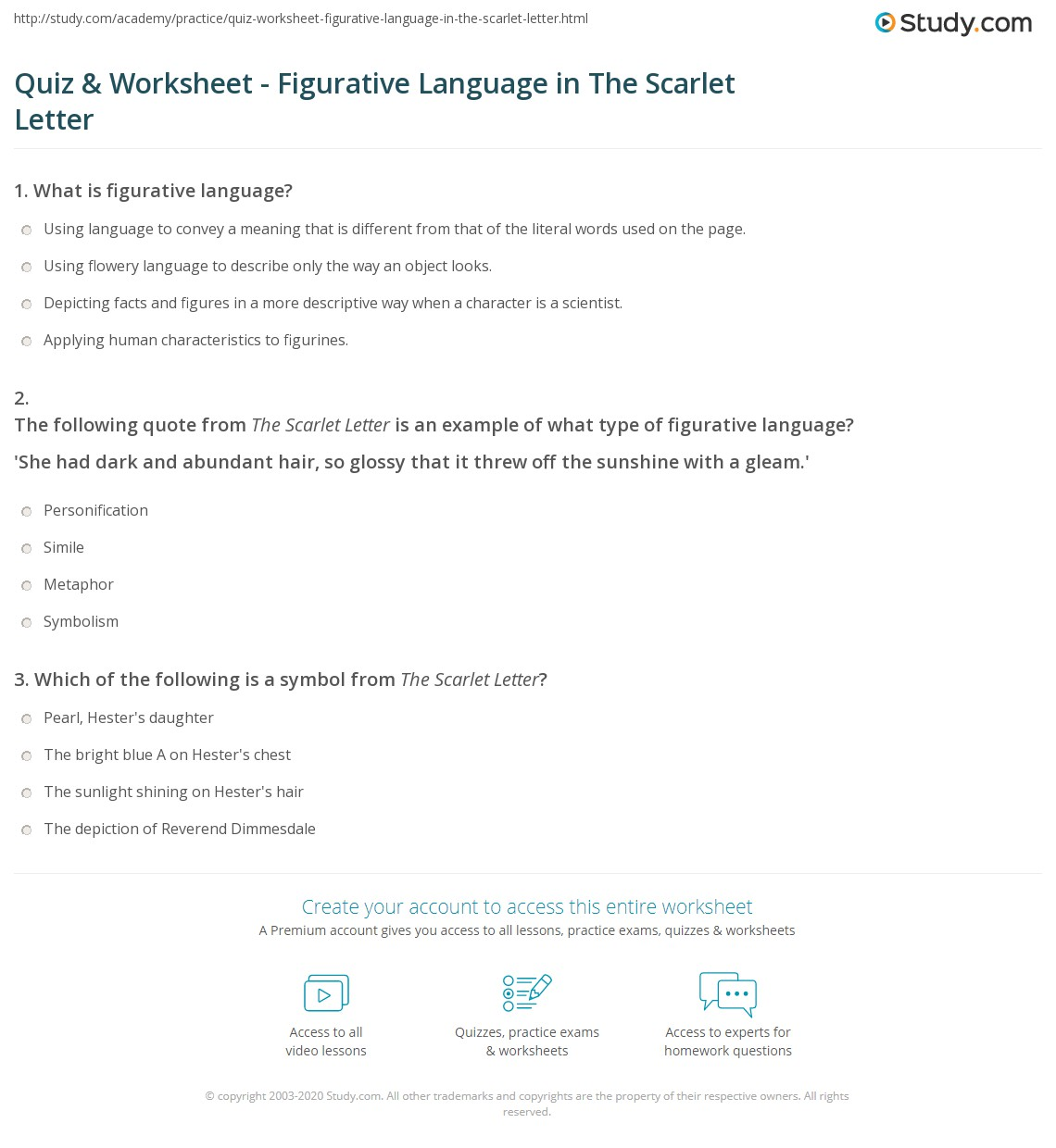 Quiz Worksheet Figurative Language In The Scarlet Letter Study Com