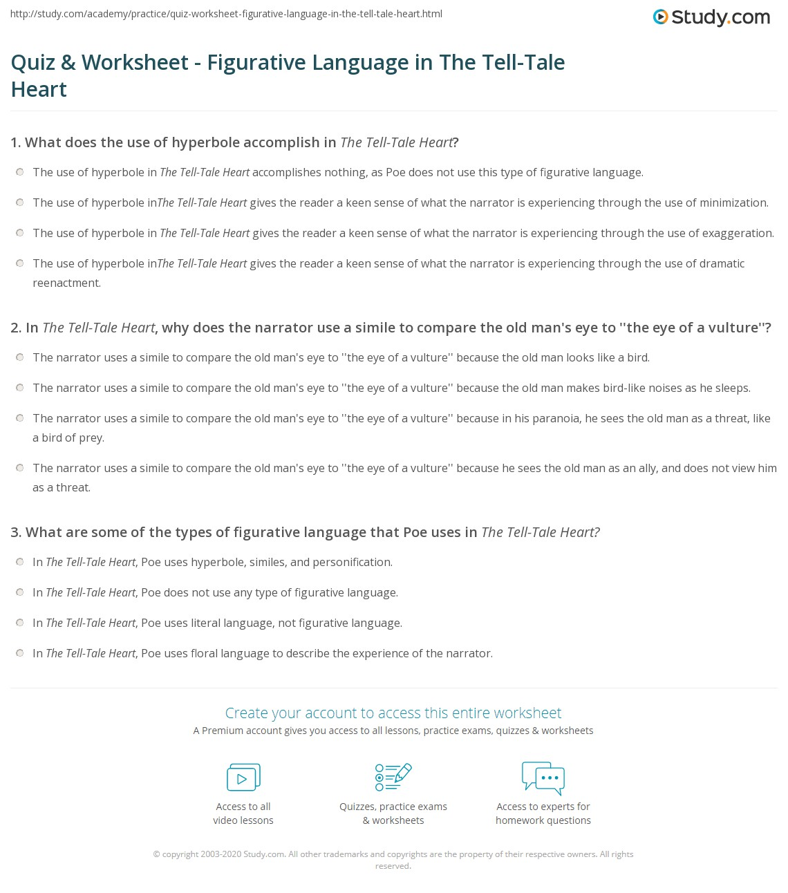quiz worksheet figurative language in the tell tale heart  print figurative language in the tell tale heart worksheet