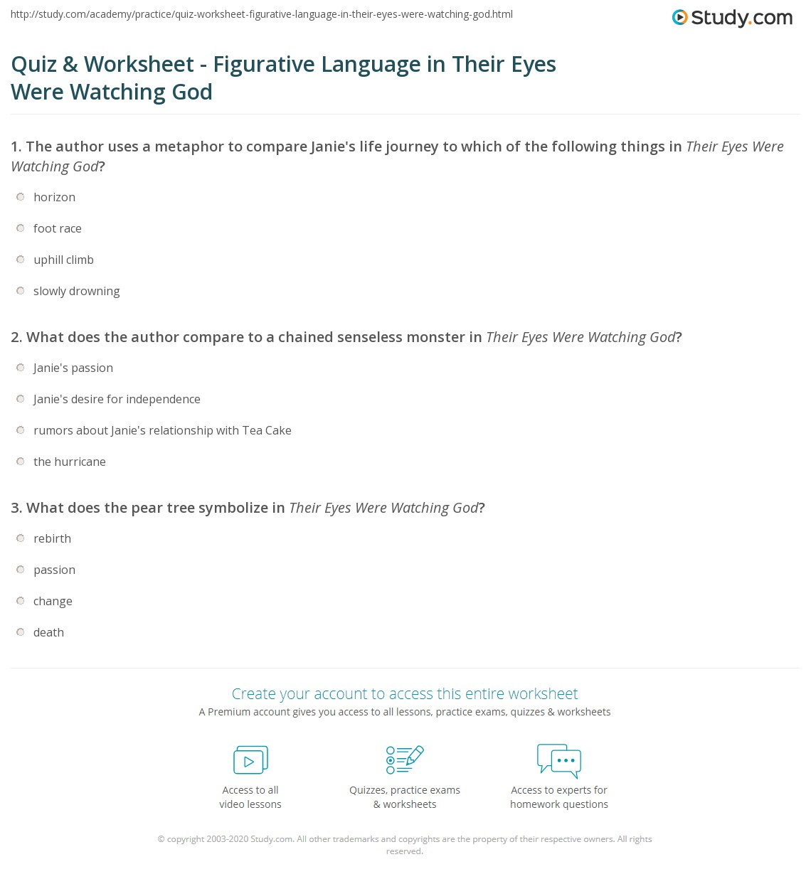 Worksheets Figurative Language Worksheets quiz worksheet figurative language in their eyes were watching print god worksheet