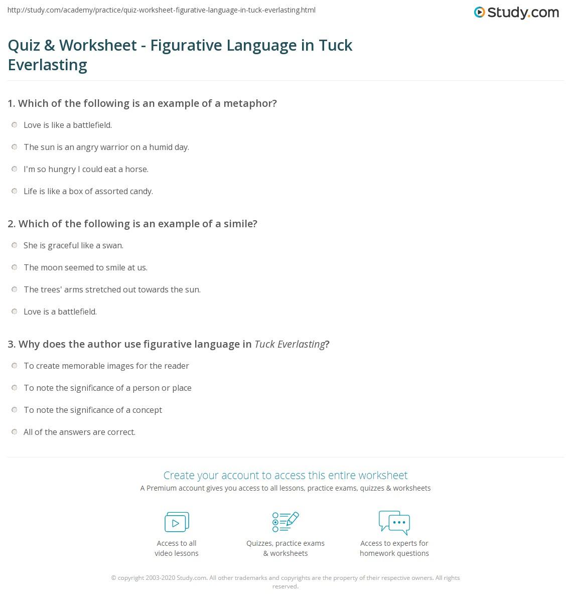 Worksheets Tuck Everlasting Worksheets quiz worksheet figurative language in tuck everlasting study com print metaphors worksheet