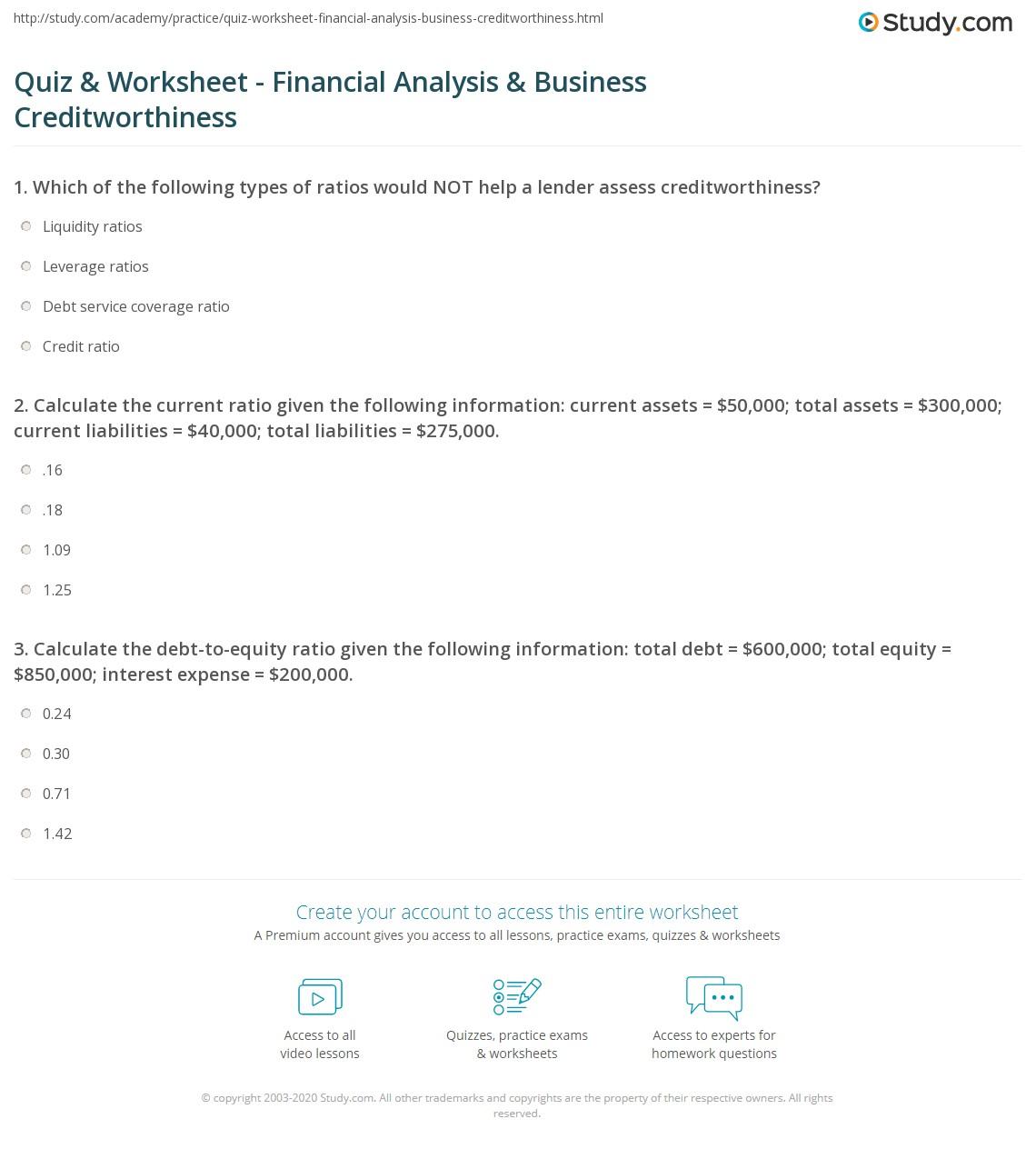 quiz worksheet financial analysis business creditworthiness. Black Bedroom Furniture Sets. Home Design Ideas