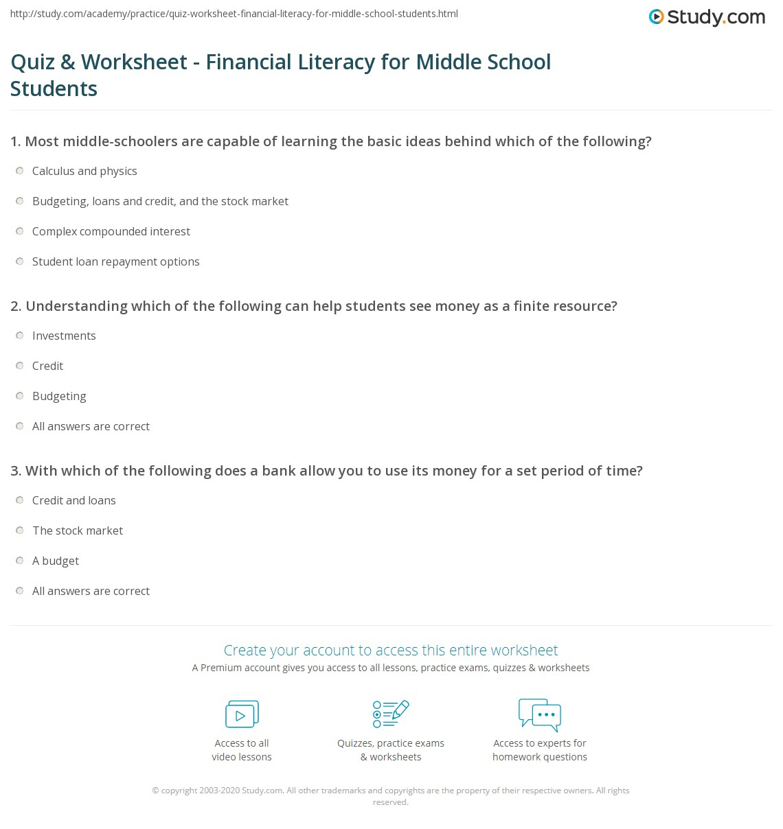 Worksheets Financial Literacy Worksheets quiz worksheet financial literacy for middle school students print worksheet
