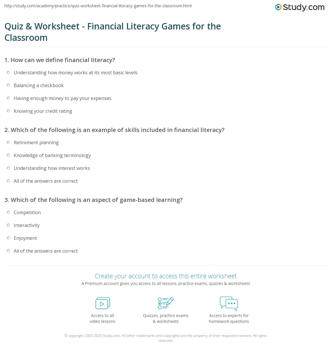 Worksheets Balancing A Checkbook Worksheet quiz worksheet financial literacy games for the classroom print students worksheet