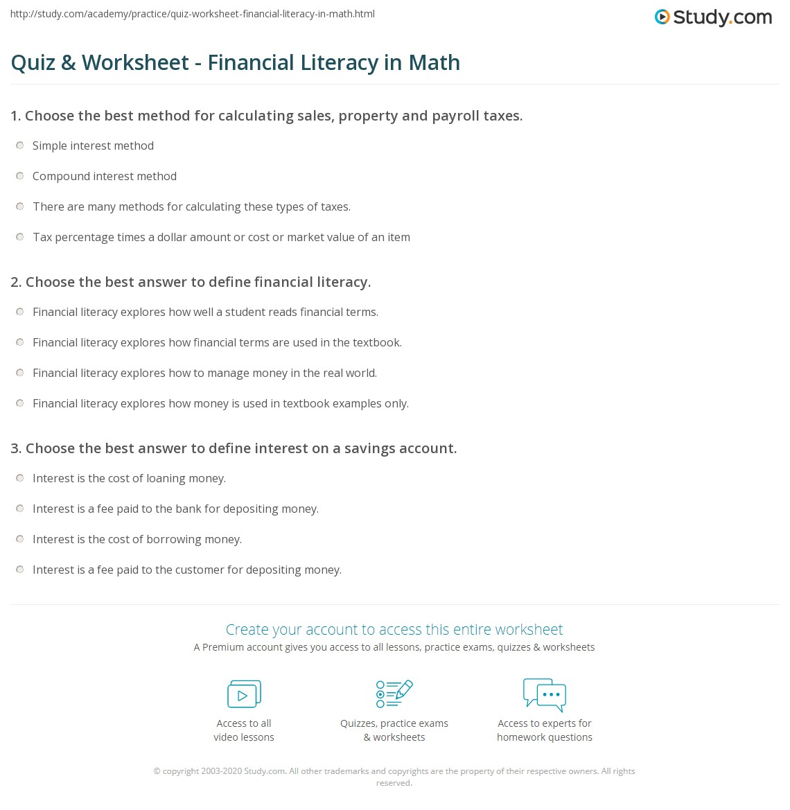 quiz worksheet financial literacy in math. Black Bedroom Furniture Sets. Home Design Ideas