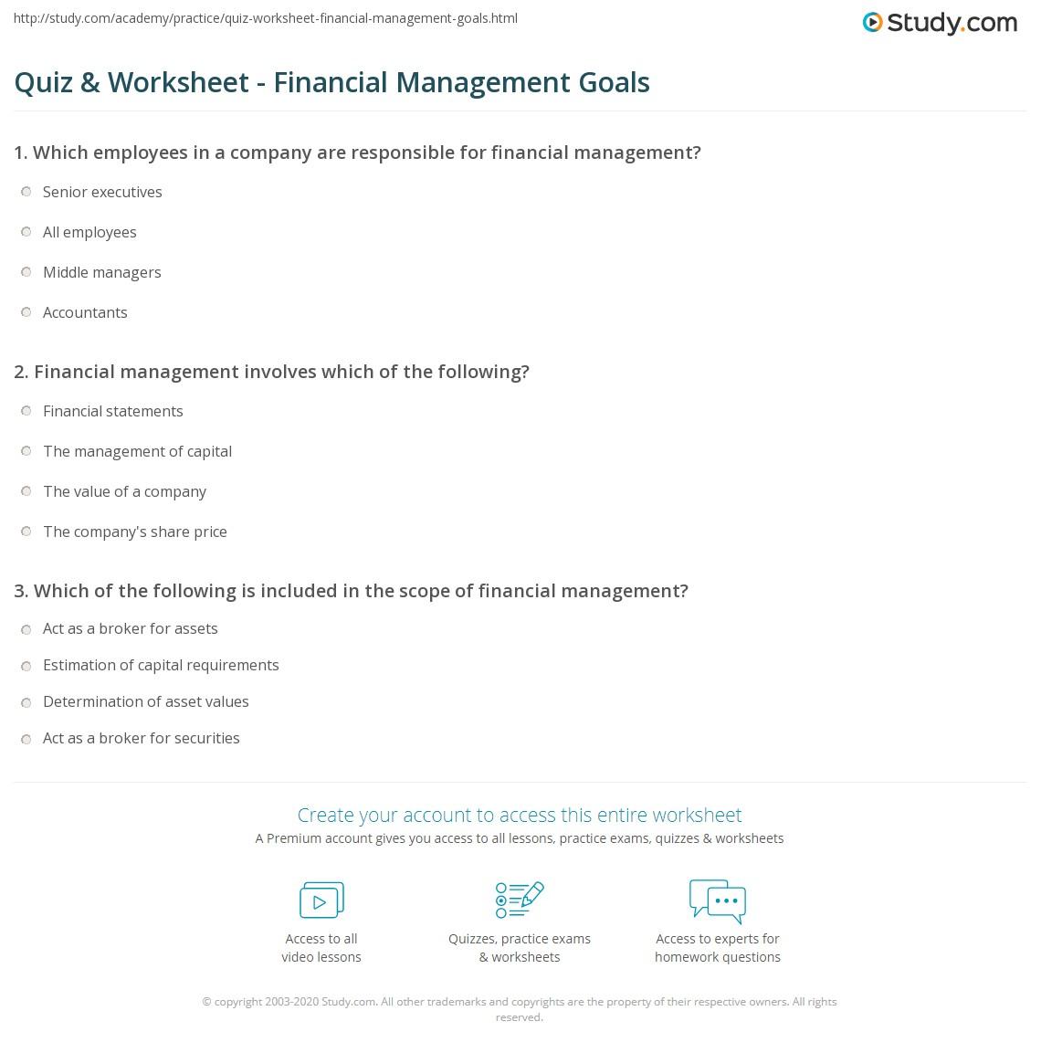 Worksheets Short Sale Financial Worksheet quiz worksheet financial management goals study com print what are the of worksheet