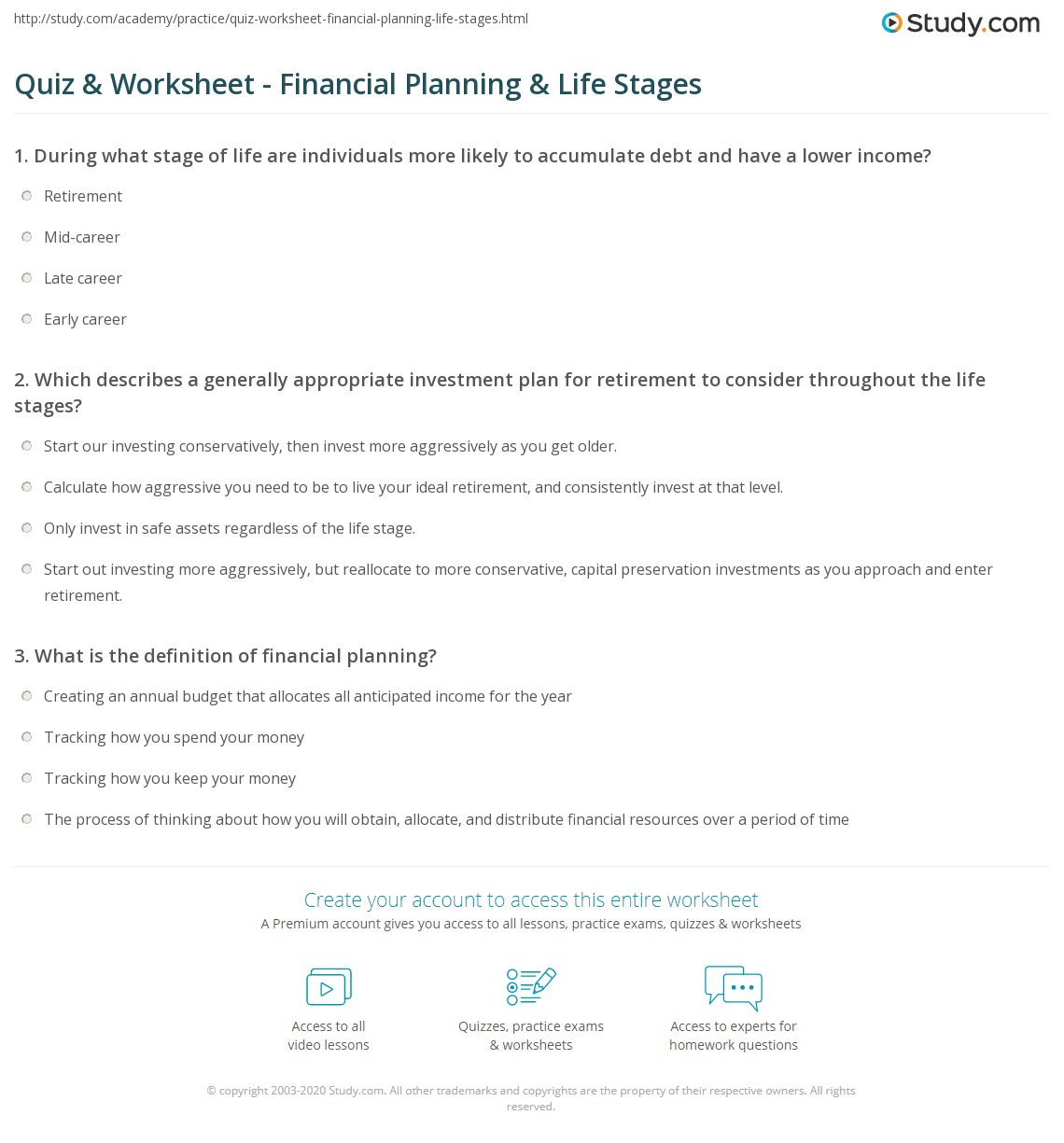 quiz & worksheet - financial planning & life stages | study