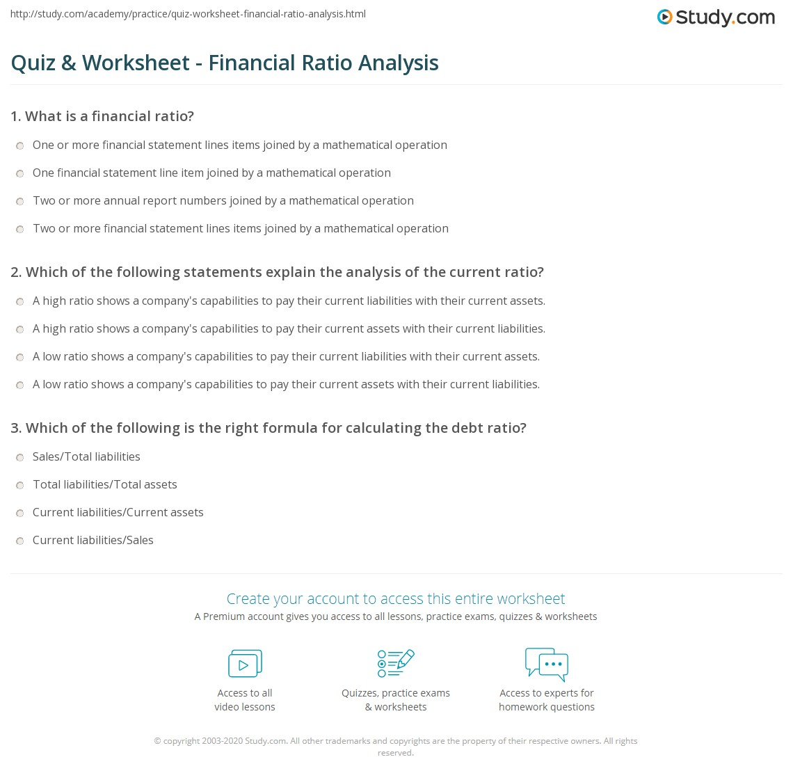 print defining and applying financial ratio analysis worksheet