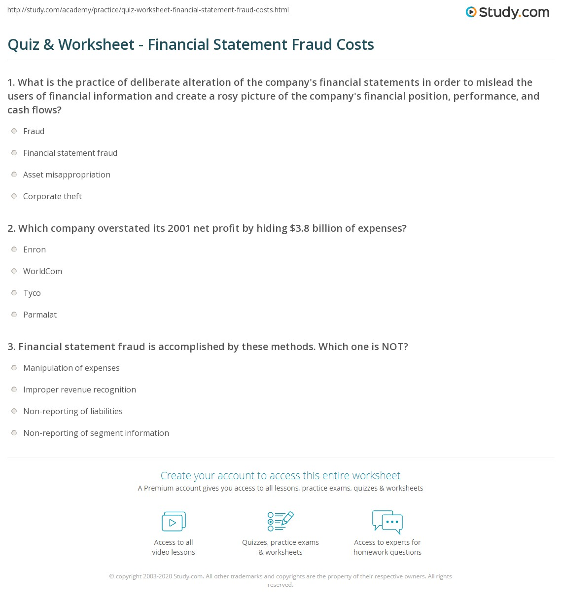 print financial statement fraud definition impact worksheet