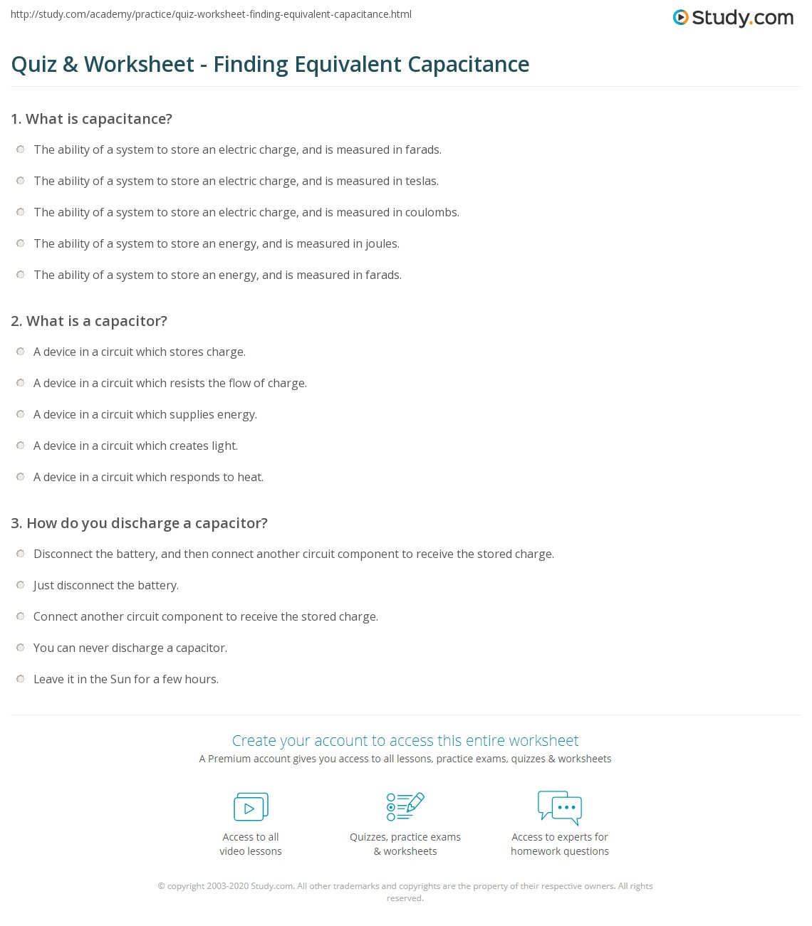 Quiz Worksheet Finding Equivalent Capacitance Studycom