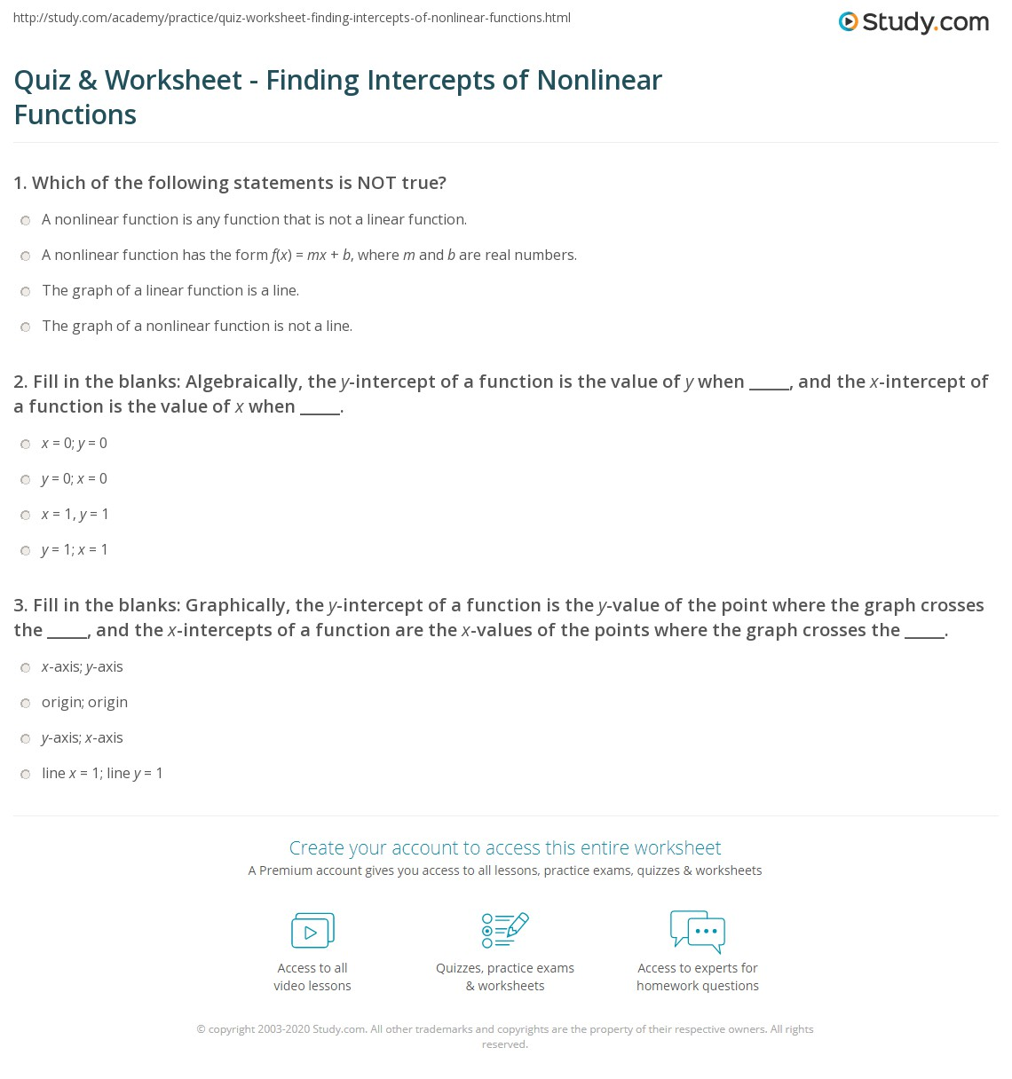 worksheet Finding X And Y Intercepts Worksheet quiz worksheet finding intercepts of nonlinear functions study com fill in the blanks algebraically y intercept a function is value when and x functi