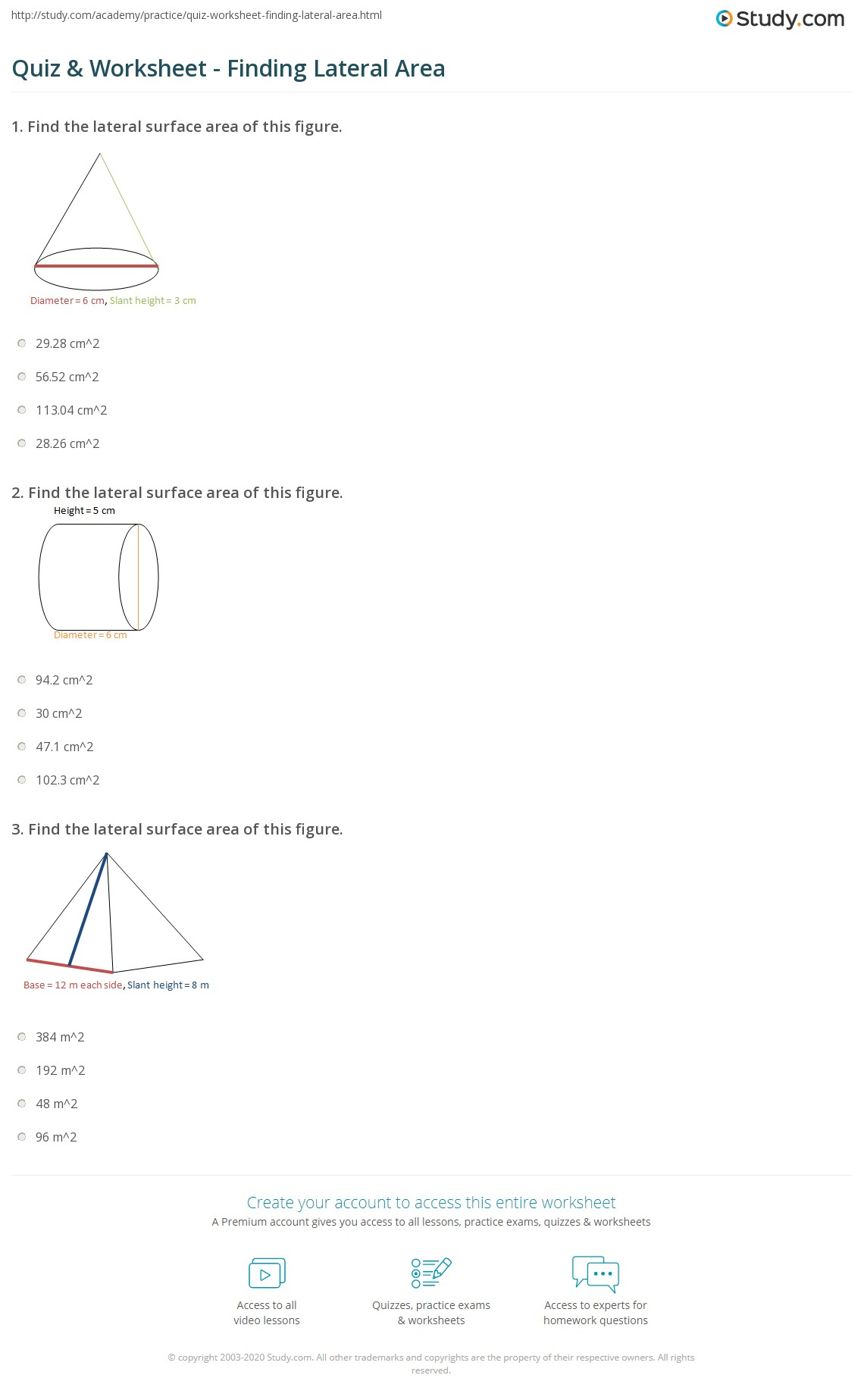 Find The Lateral Surface Area Of This Figure Quiz & Worksheet Finding  Lateral Area Study