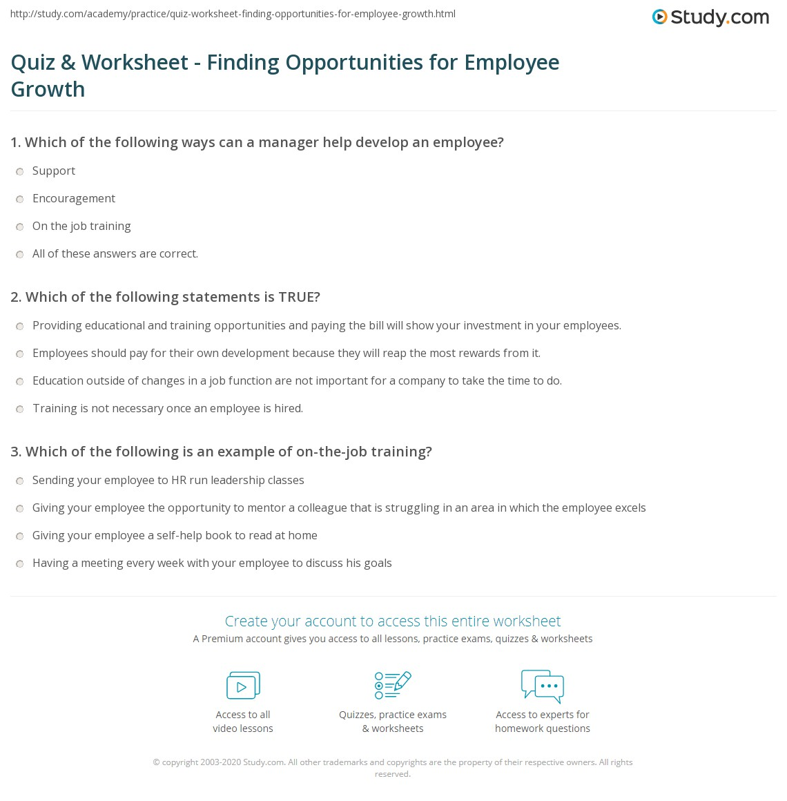 Quiz & Worksheet - Finding Opportunities for Employee Growth | Study.com