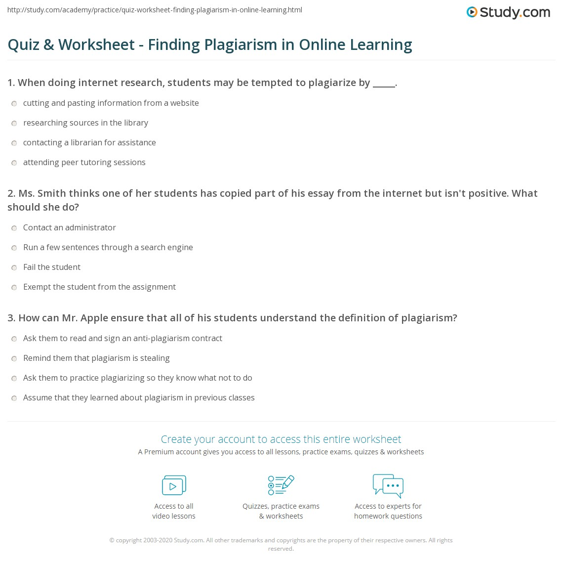quiz worksheet finding plagiarism in online learning com print identifying preventing plagiarism in online learning worksheet