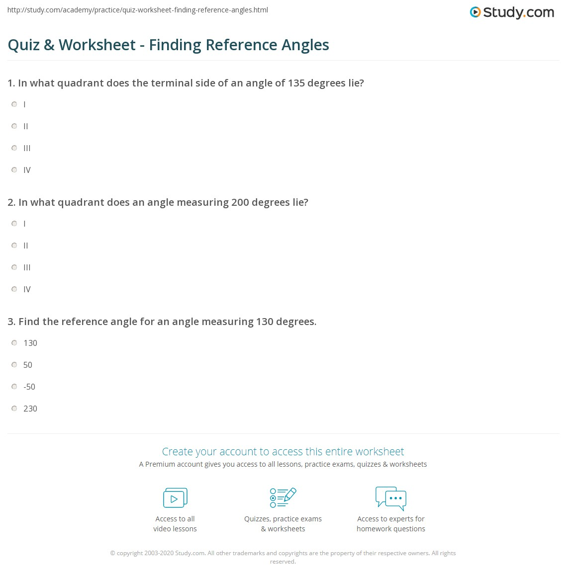 Quiz & Worksheet - Finding Reference Angles | Study.com