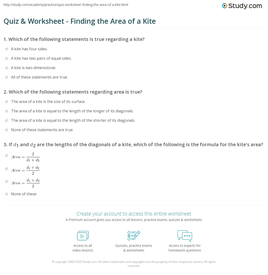 Quiz Worksheet Finding The Area Of A Kite Study
