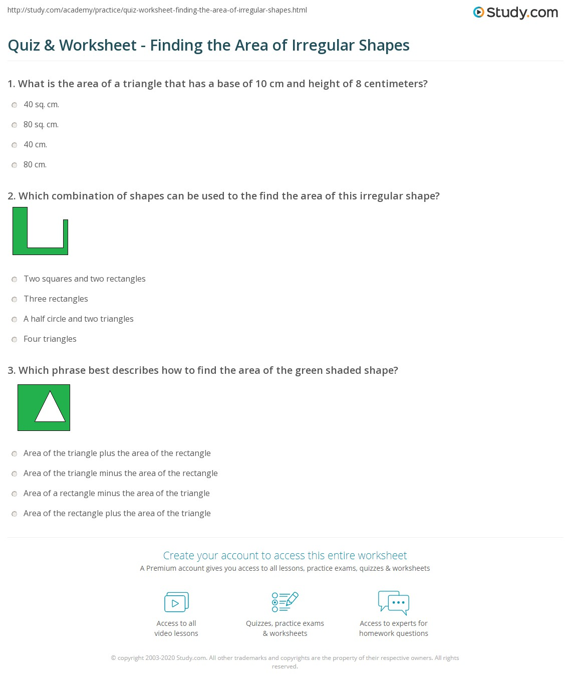 Quiz Worksheet Finding The Area Of Irregular Shapes Study