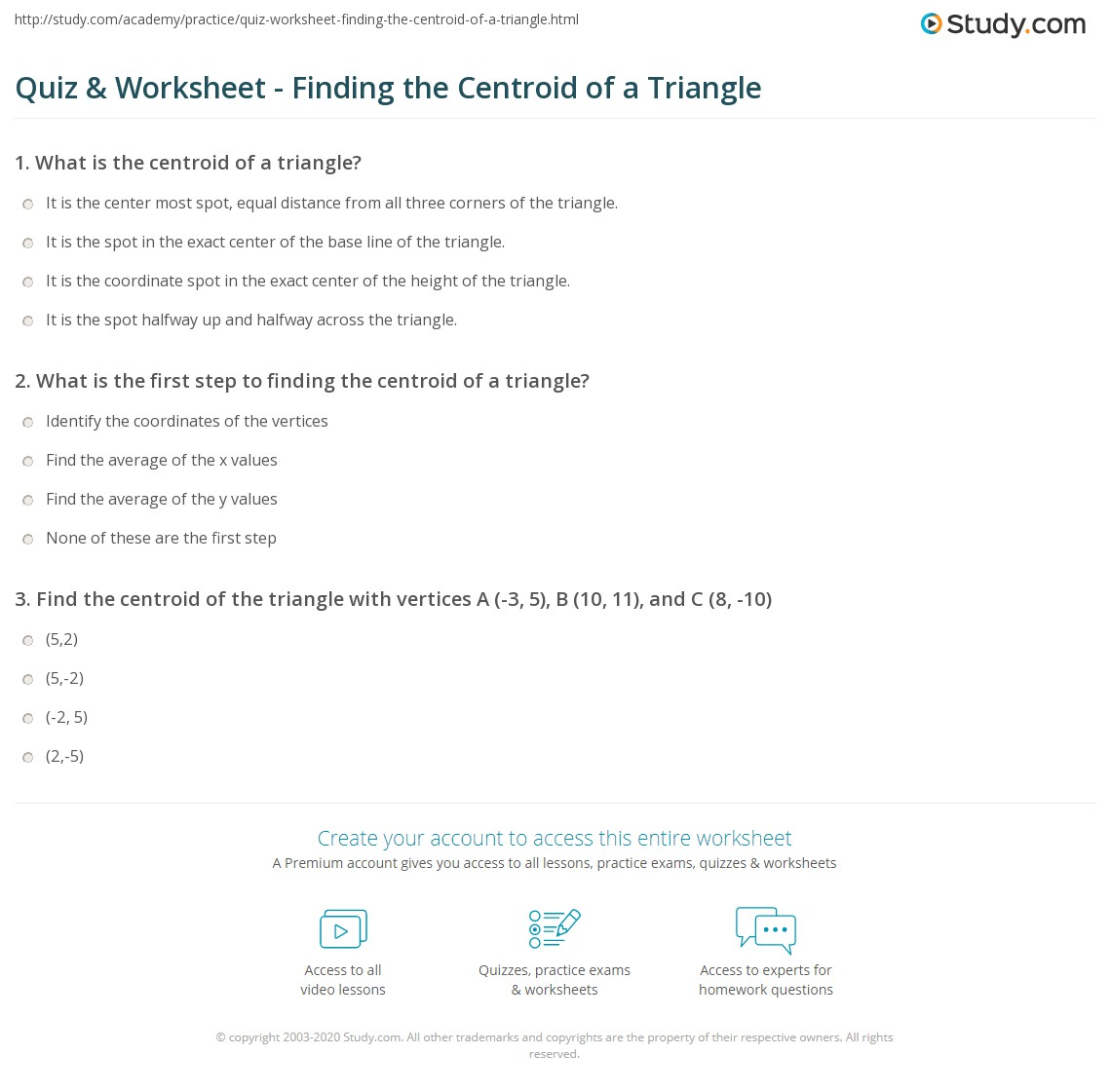 quiz worksheet finding the centroid of a triangle. Black Bedroom Furniture Sets. Home Design Ideas