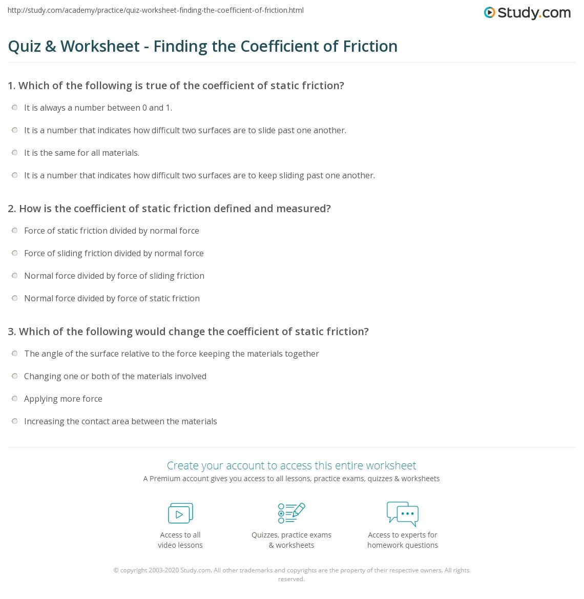 Friction force worksheet pdf