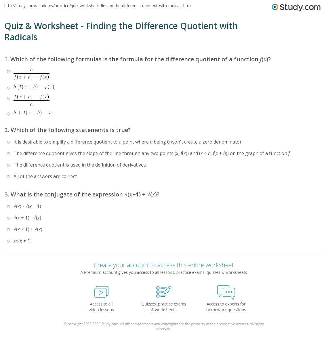Worksheets Difference Quotient Worksheet quiz worksheet finding the difference quotient with radicals print how to find worksheet