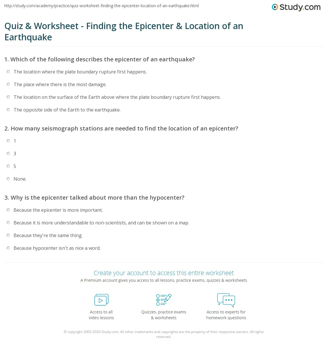 quiz worksheet finding the epicenter location of an earthquake. Black Bedroom Furniture Sets. Home Design Ideas