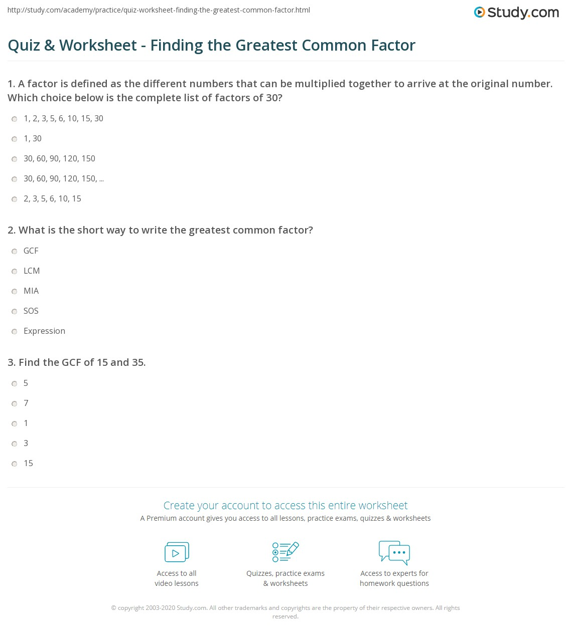Quiz Worksheet Finding the Greatest Common Factor – Greatest Common Factor Worksheet