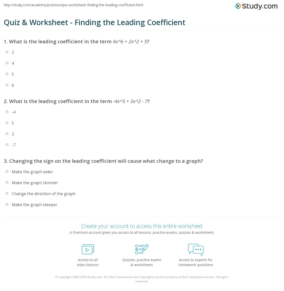 quiz worksheet finding the leading coefficient study com