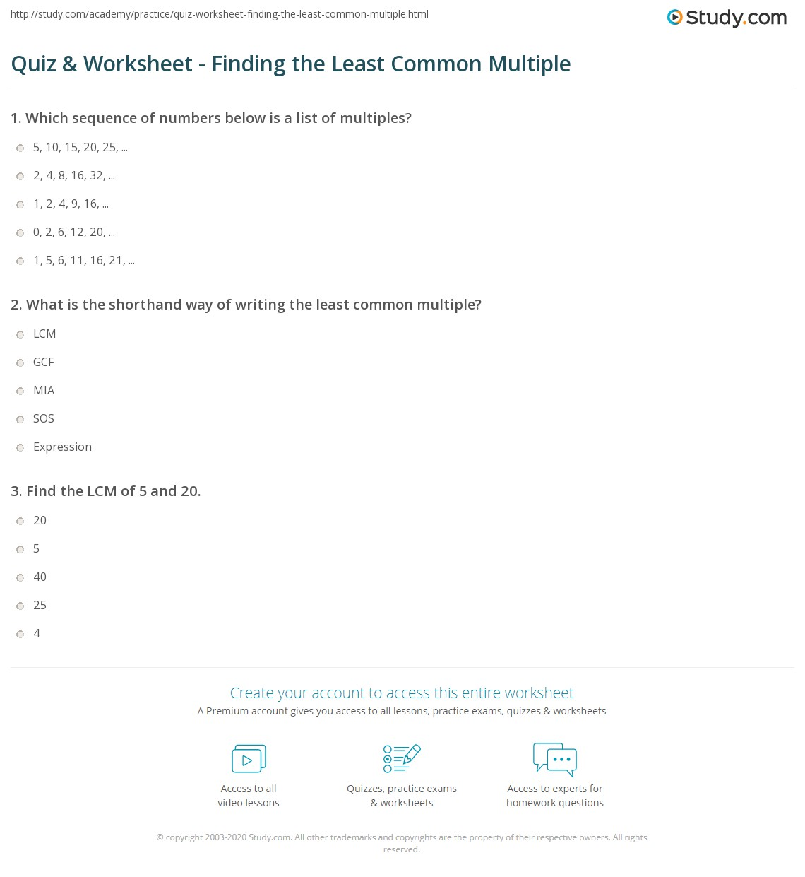 Quiz Worksheet Finding The Least Common Multiple Study