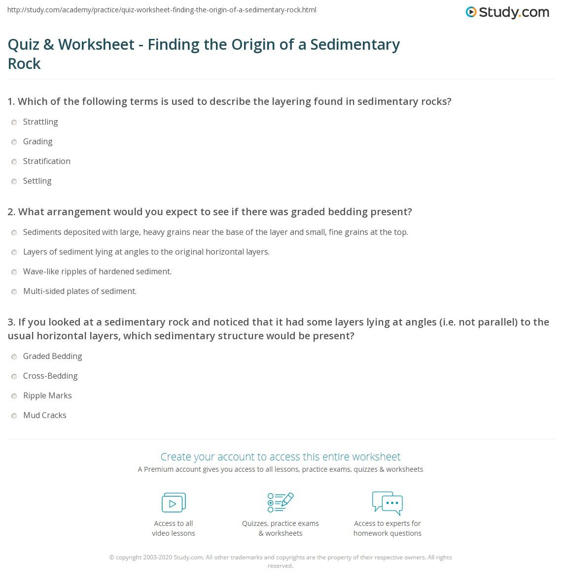 quiz worksheet finding the origin of a sedimentary rock. Black Bedroom Furniture Sets. Home Design Ideas