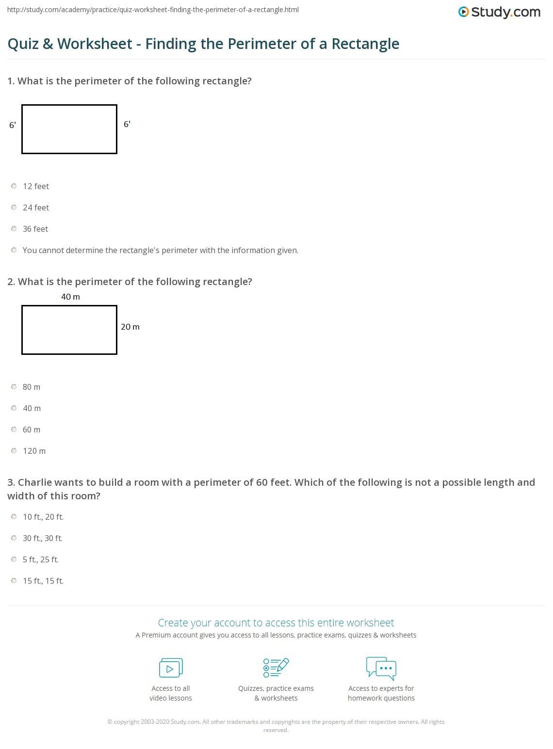 worksheet Perimeter Of A Rectangle Worksheet quiz worksheet finding the perimeter of a rectangle study com print how to find formula example worksheet