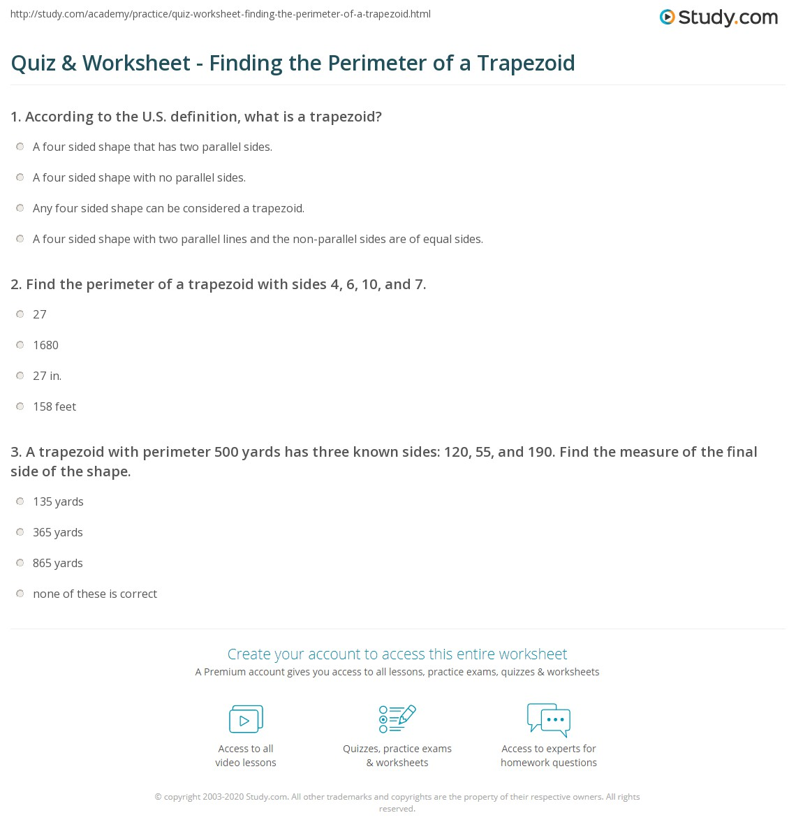Worksheets Finding Perimeter Worksheets quiz worksheet finding the perimeter of a trapezoid study com print how to find worksheet
