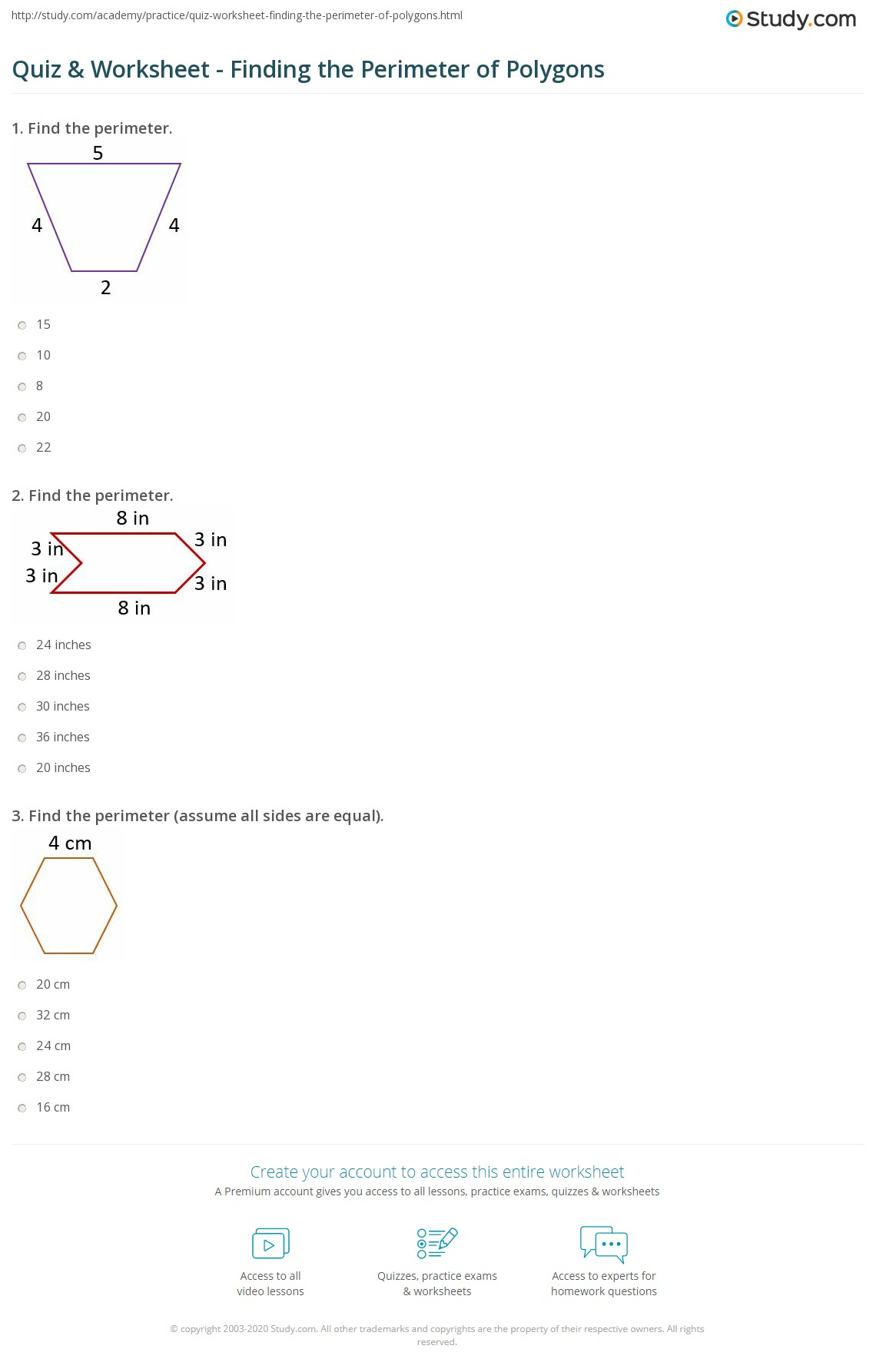 Quiz Worksheet Finding The Perimeter Of Polygons