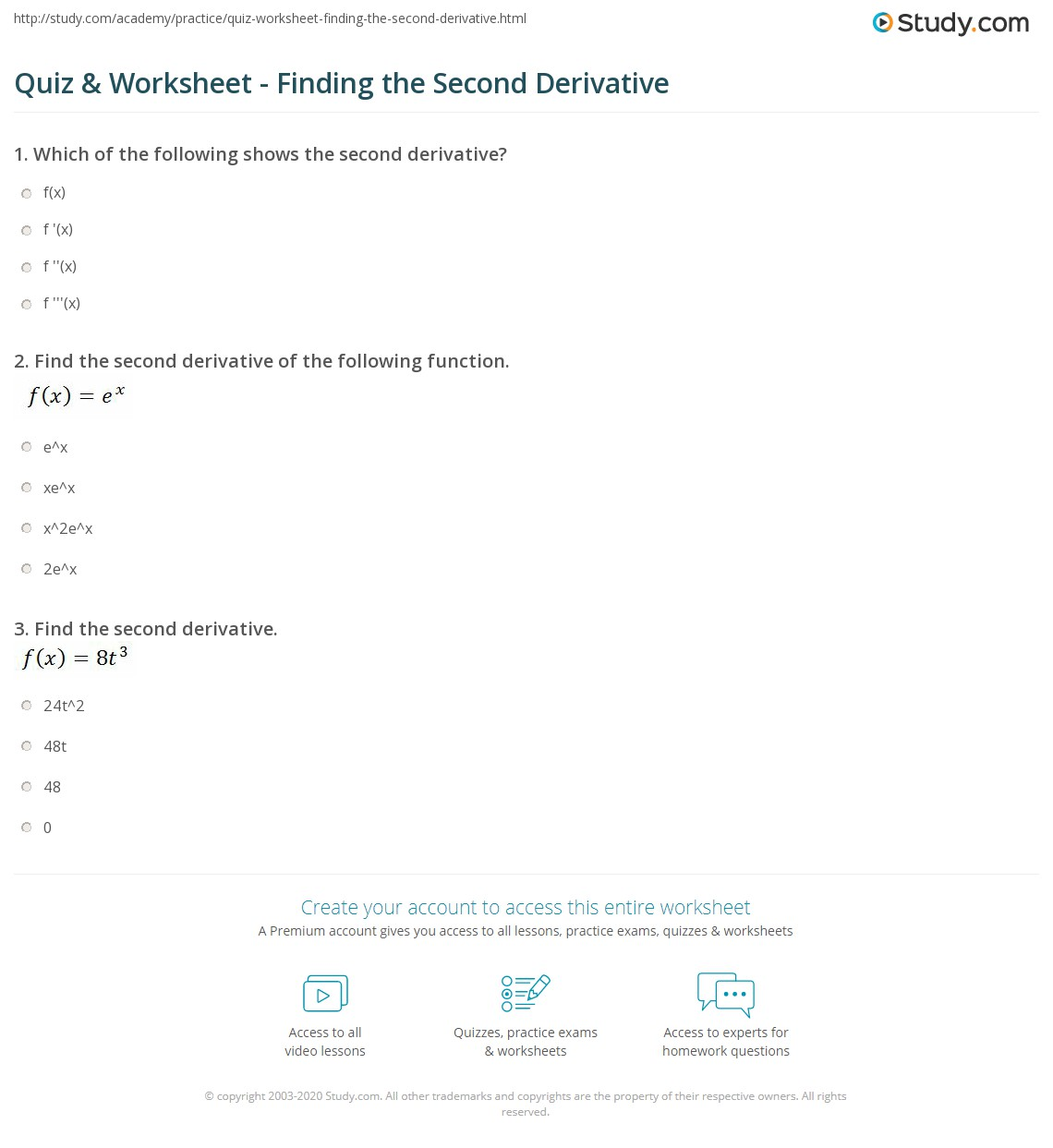 quiz worksheet finding the second derivative. Black Bedroom Furniture Sets. Home Design Ideas